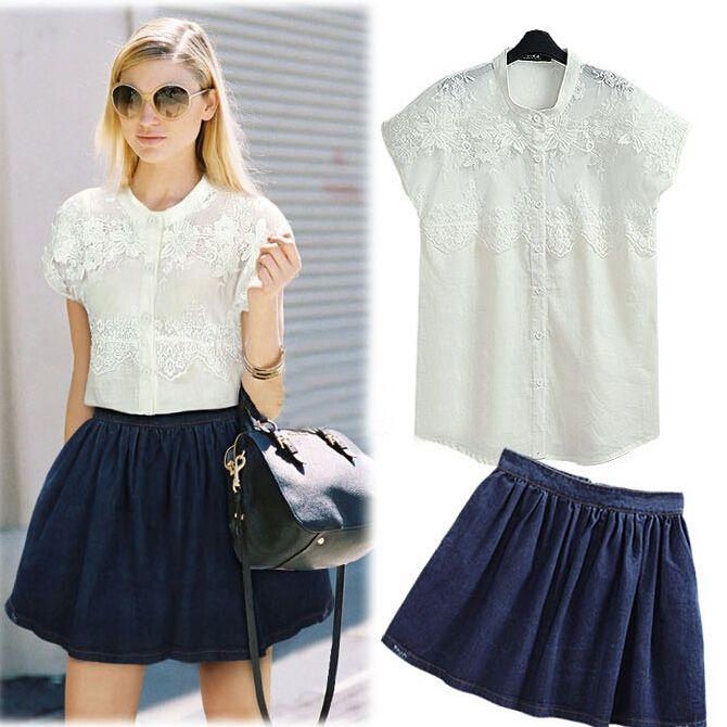 Womens' Suits White Short Sleeve Blouse Loose Denim Skirt