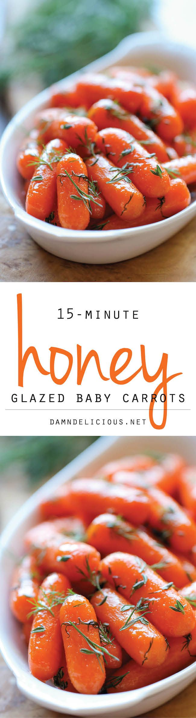 Honey Glazed Baby Carrots - use half the thyme next time!