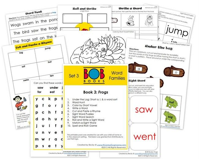 FREE BOB Book Printables: Set 3, Books 3 and 4 - This Reading Mama