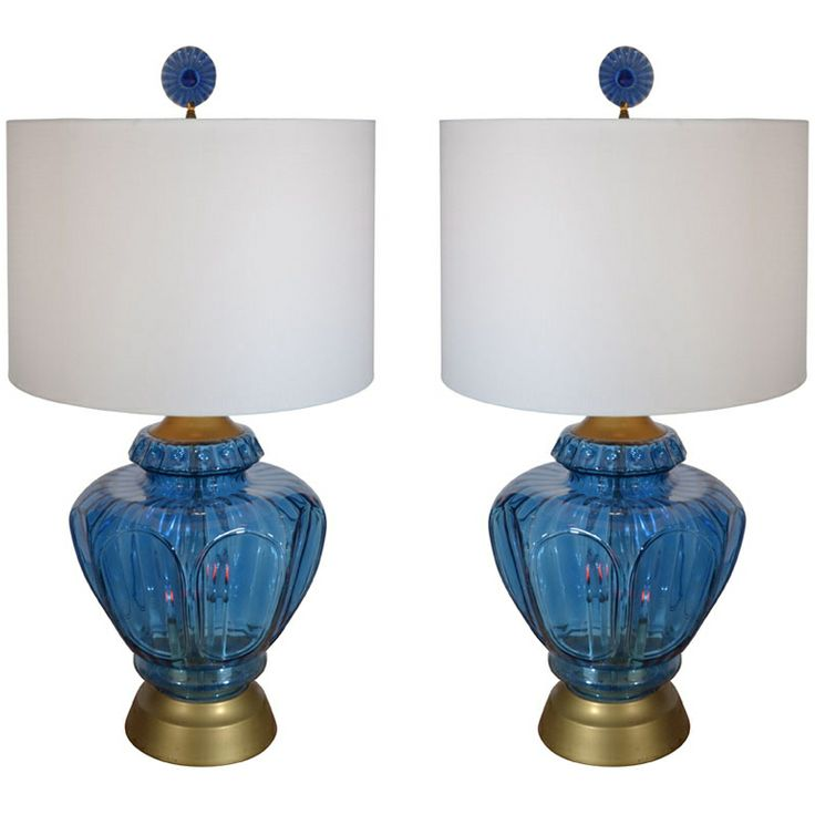 Pair Of Mid Century Blue Glass Lamps