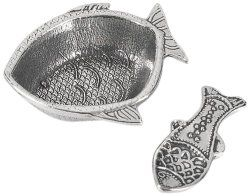 Fish Shaped Pewter Salt Cellar With Spoon - North Breeze
