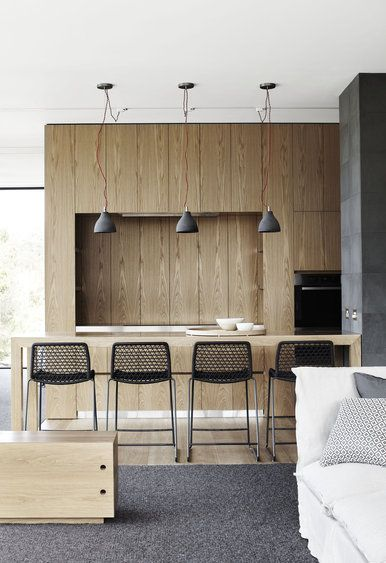Wooden kitchen - Design Practice: Whiting Architects ; Photography: Sharyn Cairns. Accademia vela stools.