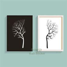 Zwart witte boom canvas schilderij poster, Muur foto voor woonkamer decoratie op canvas, Frame niet omvatten FA046(China (Mainland))