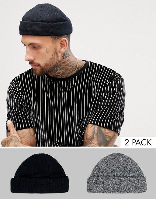 89683082 DESIGN mini fisherman beanie 2 pack in black & twist recycled ...