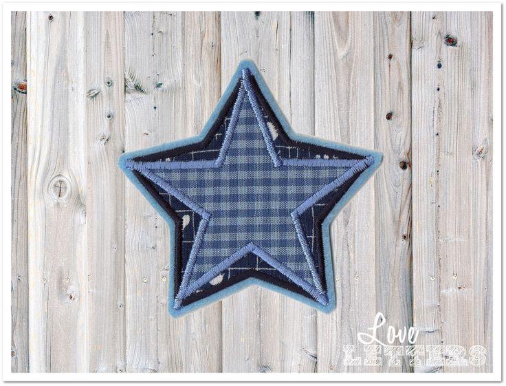 Aufnäher - Stern Aufnäher zweifarbig blau Applikation  - ein Designerstück von Love_Letters bei DaWanda