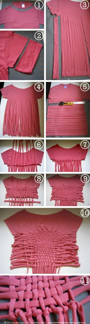 (DIY woven crop top process) Instead of a crop I think I'll use more than two shirts to make a full weaved shirt - how cool would that be?