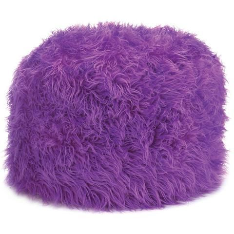 Purple Orchid Shaggy Ottoman Pouf, Foot Rest