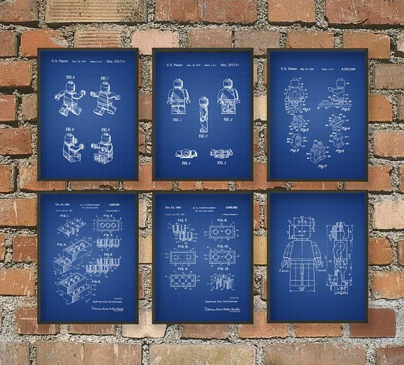 Ultimate Lego Patent Wall Art Poster Set of 6 Lego Home Decor Kids Room Gift Idea Giclee Print