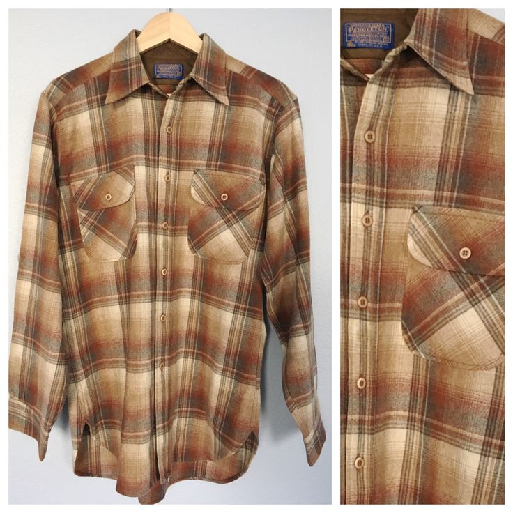 Vintage Men's Pendleton Shirt - Brown Plaid Wool Long Sleeve Button Up Work Shirt - Size Medium by victorandpaulette on Etsy