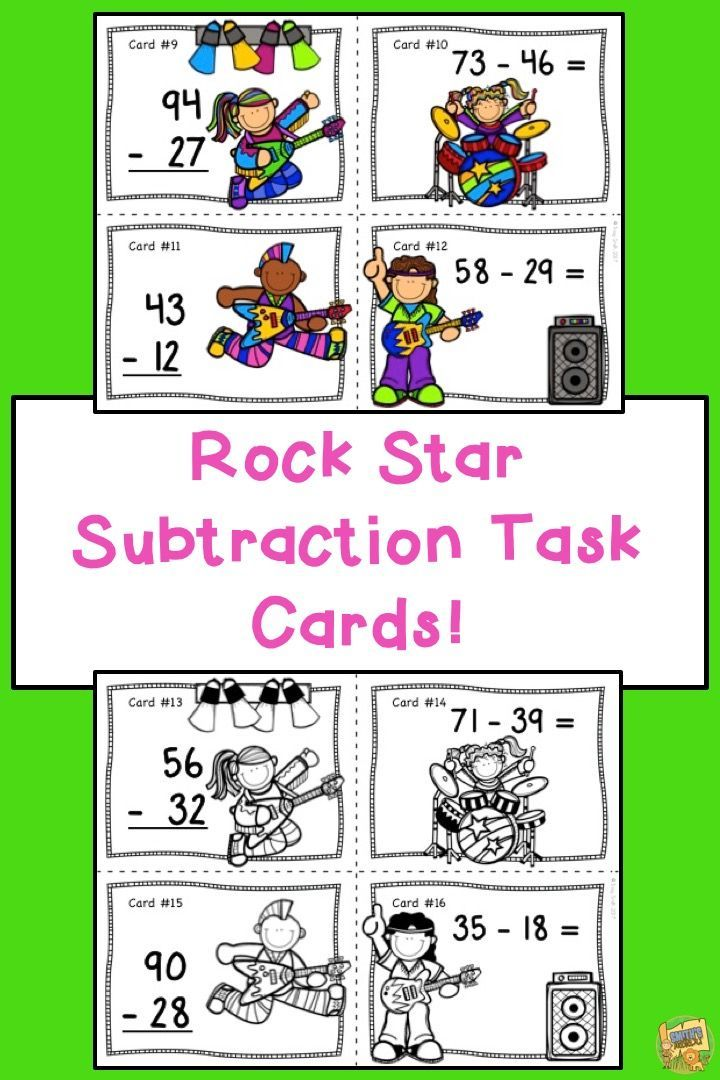 Rock Star - 2 Digit Subtraction Task Cards Cards come in color and black/white to save on ink.  24 task cards and student answer sheet.  Play a game of SCOOT, use in a center, or great with small groups!  Grades 1-3