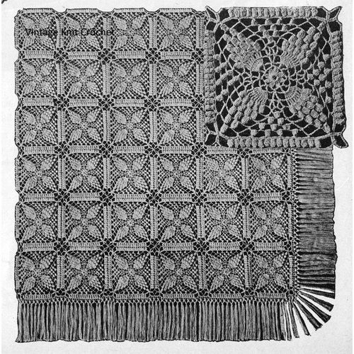 Crochet Bedspread pattern in 7 inch squares are in pineapple motif worked in pineapple stitch.  This crocheted bedspread pattern is vintage 1944