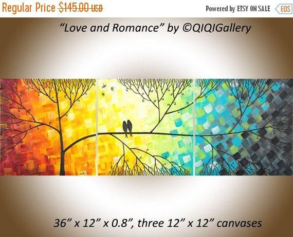 Moderne Wand Kunst bunt 36 Liebe Vögel Kunst von QiQiGallery