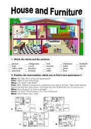 English Worksheets: House and Furniture