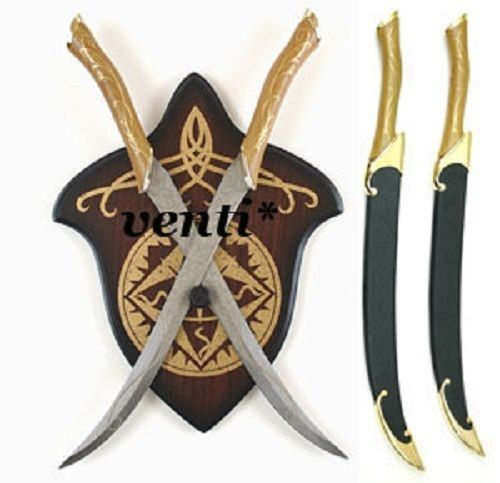 LEGOLAS-FIGHTING-KNIVES-WITH-RIGID-SCABBARDS-AND-WALL-PLAQUE