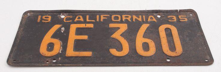 1935 6e 360 5 Digit Black Yellow California License Plate (d3r)