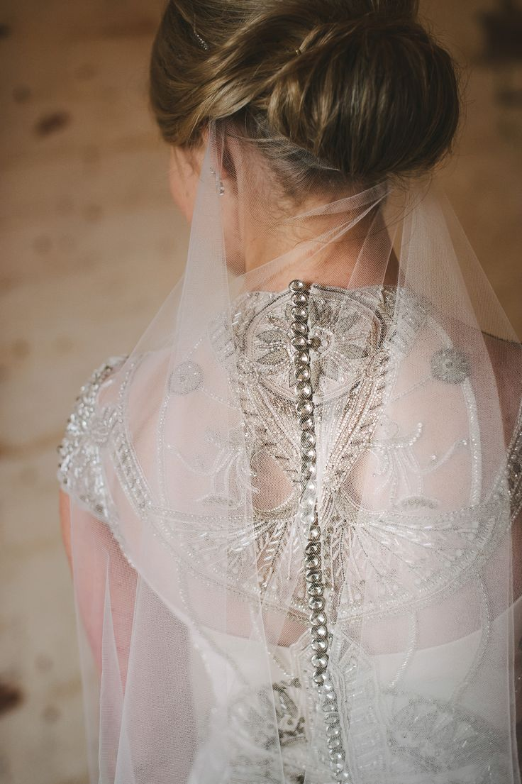 Anna wearing beaded 'Polly' Vintage inspired wedding dress by Gwendolynne - images: www.lucyspartalis.com