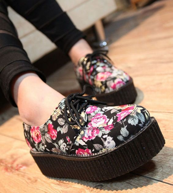 Floral Creepers.. These are soo cute. I just found some on T.U.K. shoes.com