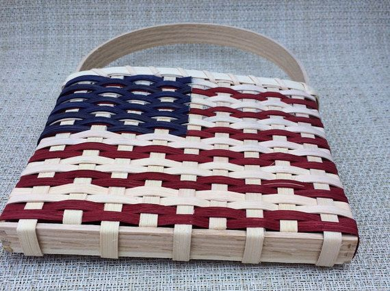 USA Flag Handwoven Basket by JustforYouBaskets on Etsy