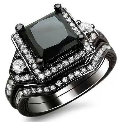Black Gold Engagement Ring Set