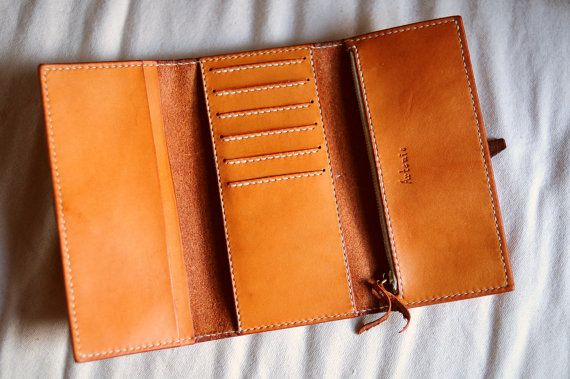 Hand Stitched Leather Long Wallet by ArtemisLeatherware on Etsy