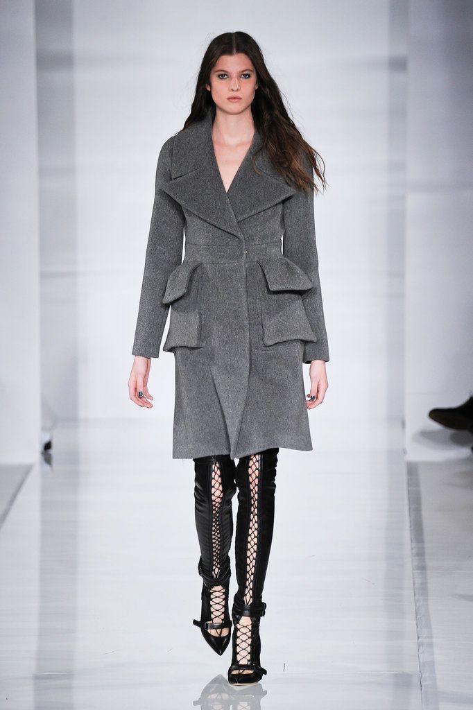 Love this coat! Antonio Berardi Has Us Green With Envy: Antonio Berardi's palette was so strict this season that he showed only one bright hue in a collection that focused around black, white, and gray.