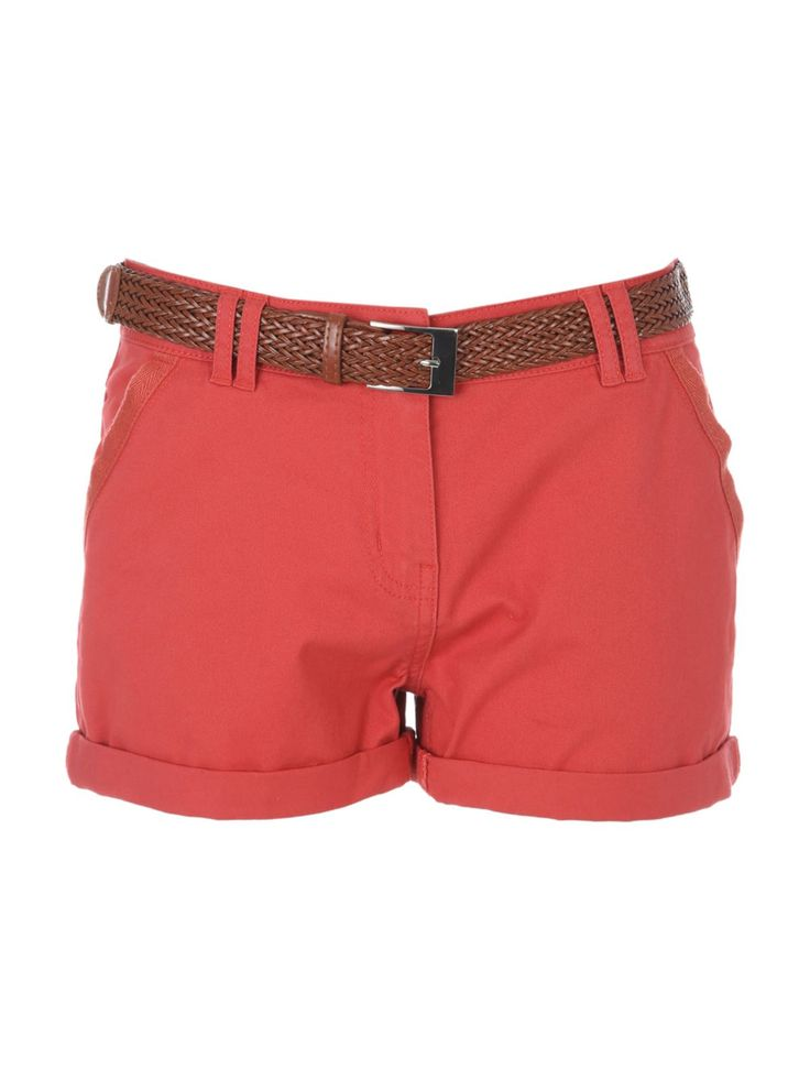 Make a colourful addition to your collection of summer wardrobe essentials with these women's peach belted chino shorts. With front and back pockets and turn...