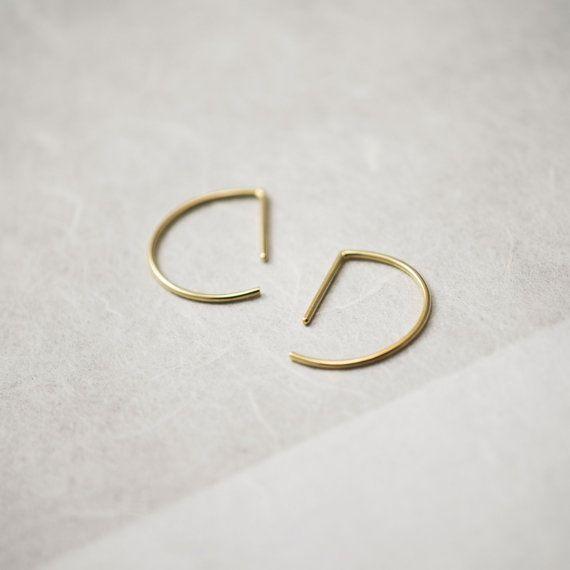 Half Circle Hoop Earrings in silver or gold filled // Modern design // Hugging hoops