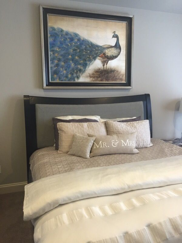 Used Normal Wear King Size Headboard Includes Side Rails Foot Board Well Taken Care Of In Near Perfect Condition Beautiful Black Gray With A
