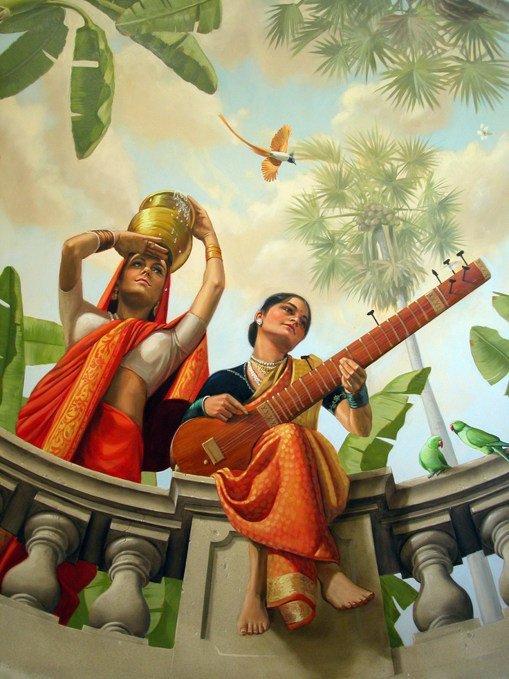A detail from my ceiling #mural in Sri Lanka. The painting was inspired by the 19th Century artist Raja Ravi  Varma.
