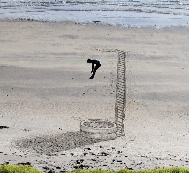 New Zealand-based art group 3D Sand Drawing creates delightful 3D illusion sand drawings that appear to pop out of the beach