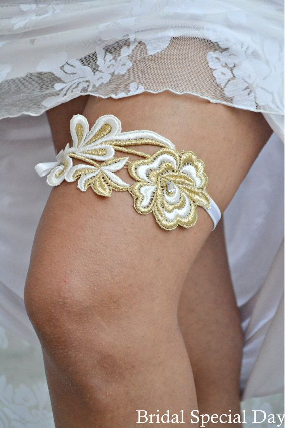 Gold Wedding Garter White Bridal Garter Knitted Garter with Strass - Handmade. €23.00, via Etsy.