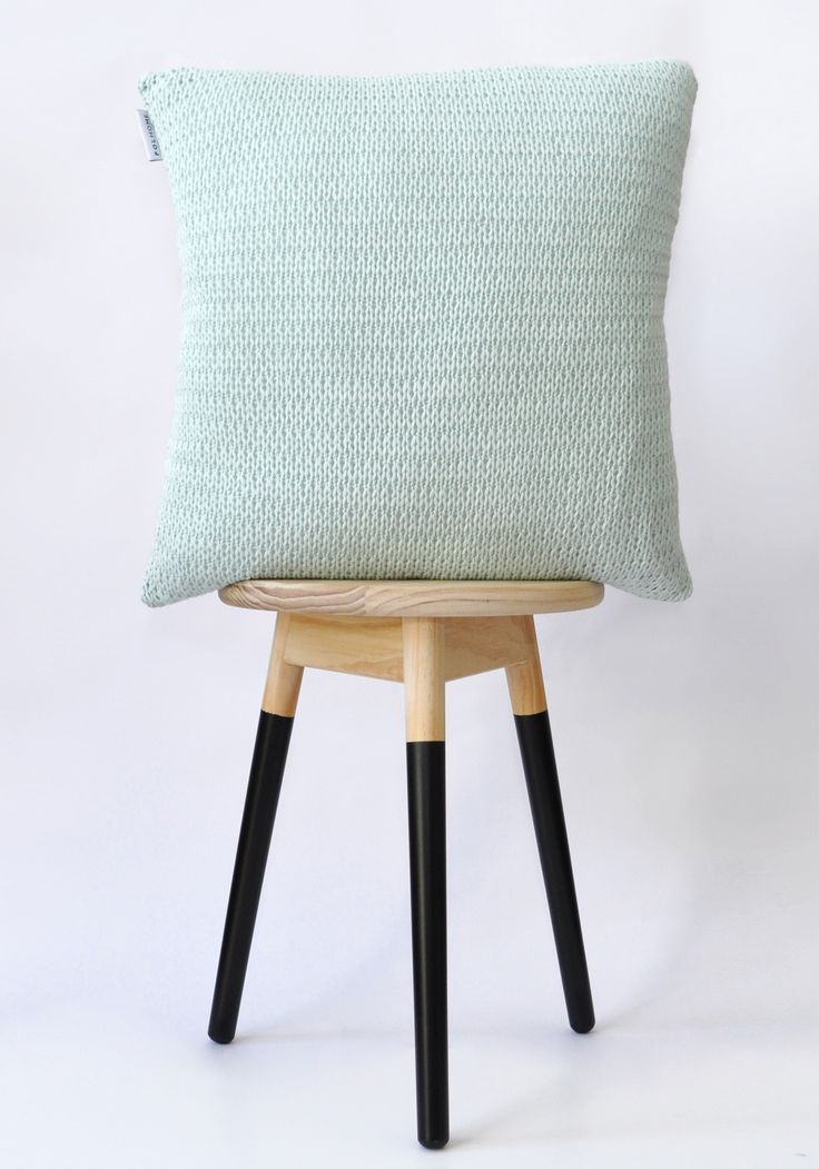 Mint knitted cushion cover