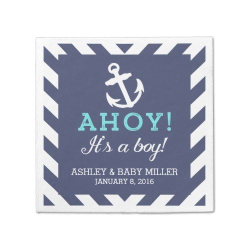 Navy Nautical Chevron Baby Shower Napkins