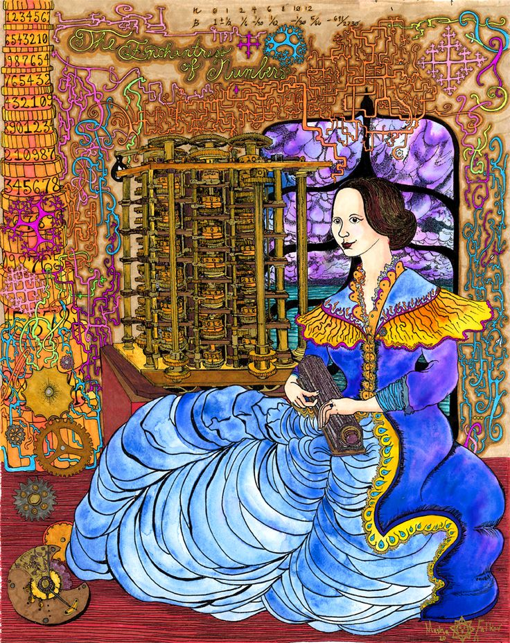 "Ada Lovelace, the Enchantress of Numbers by Masha Falkov 11"" x 17""  ink, watercolor and marker on paper"