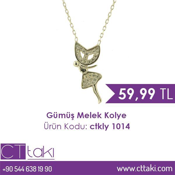 Gümüş Melek Kolye. 59,99 TL fiyatı ile CT Takı'da. #altın #kaplama #fiyat #indirim #ucuz #melek #kadın #trend #aksesuar #cttakı