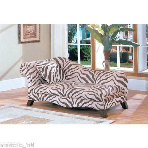 Zebra Chaise Lounge Chair Hardwood Frame Transitional Style New Free Shipping