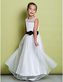 LAN TING BRIDE Corte en A Hasta el Suelo Vestido de Niña Florista - Tul Joya con Lazo(s) Cinta / Lazo Plisado – USD $ 175.00