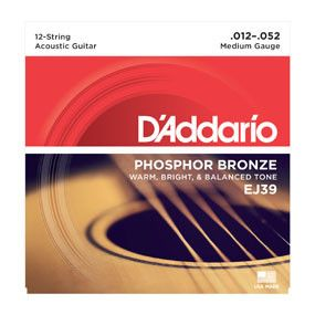 D'Addario 12-String Medium Gauge EJ39 12-52 Phosphor Bronze 12 String Acoustic Guitar Strings
