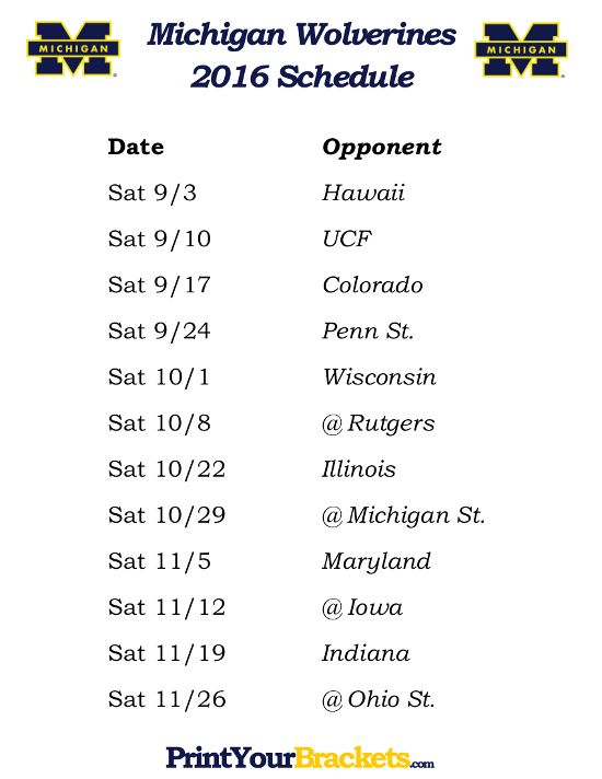 Printable Michigan Wolverines Football Schedule 2016