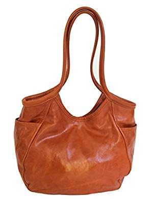 Orange Leather Hobo Tote Bag Fashion Purse Shoulder Handbag Handmade Handbags Amelia