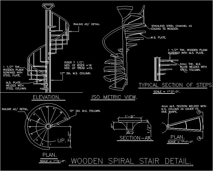 Spiral staircase architecture pinterest search for Spiral stair dwg