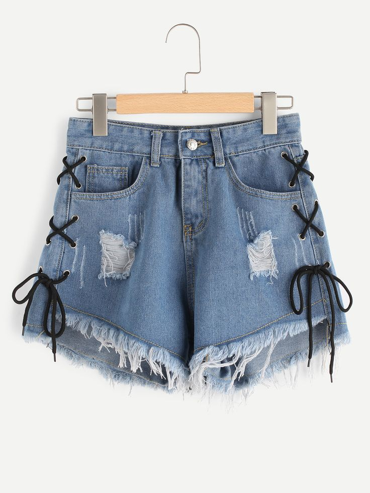 Shop Eyelet Lace Up Side Frayed Hem Denim Shorts online. SheIn offers Eyelet Lace Up Side Frayed Hem Denim Shorts & more to fit your fashionable needs.