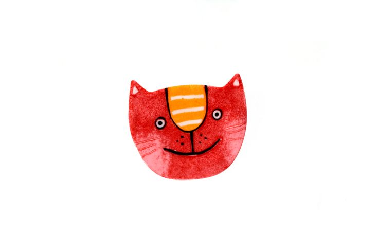 Hand-painted Red Cat Brooch, Stainless Steel, Cat Pin, Enamel Pin, Enamel Brooch, Animal Pin, Animal Brooch, Cat Face Pin, Pet Pin by CinkyLinky on Etsy