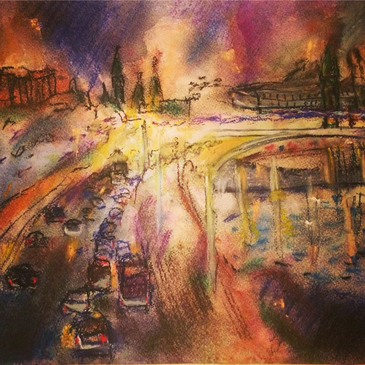 City. Moscow. Pastel.