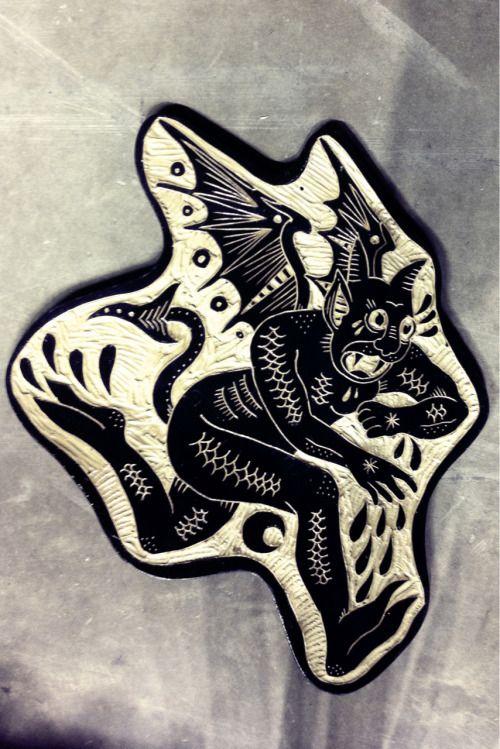 Brynn Perrott's stunning woodcuts - Devil. 2012