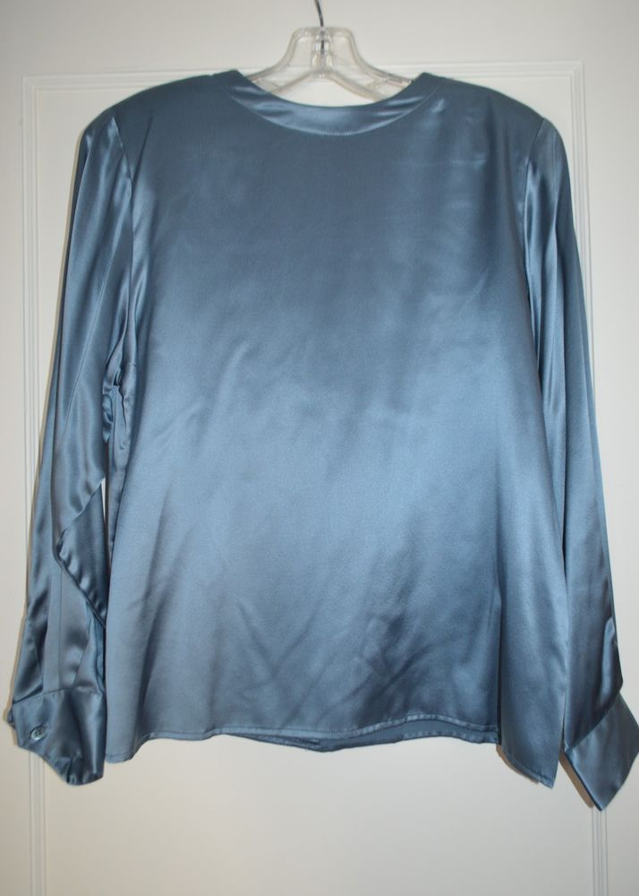 49da9ea5c9ed3 Brooks Brothers New NWOT Size 10 Blue Silk Satin Charmeuse Blouse  fashion   clothing  shoes  accessories  womensclothing  tops (ebay link)