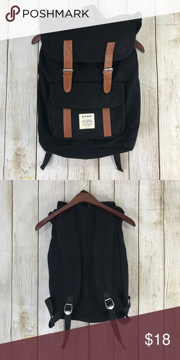 Old Navy buckle strap backpack Super cute Old Navy Backpack. Black & tan. Old Navy Bags Backpacks
