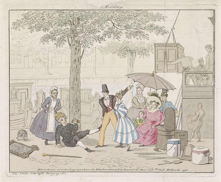 Anonymous   Verhuisdag in Amsterdam, 1831, Anonymous, 1830 - 1831   Spotprent op de gewoonte in Amsterdam om op 1 mei te verhuizen. Een oude man valt op de grond terwijl een jonge welgestelde familie haar spullen het huis in brengt, 1831. Met eenregelig onderschrift.