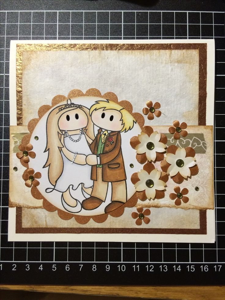 A wedding card I made as a commission. Stamp from Tingtura Design coloured with copics.