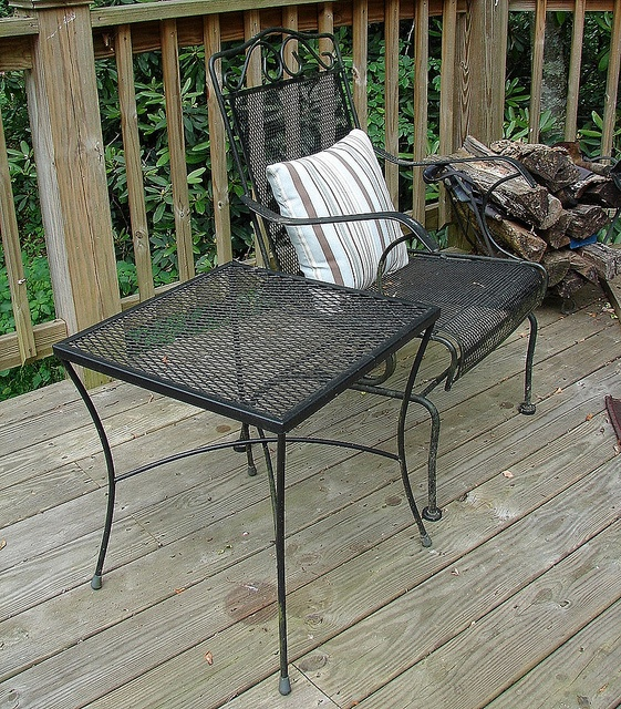 Wrought Iron Outdoor Patio Garden Chair W Side Table, SALE $119...Call